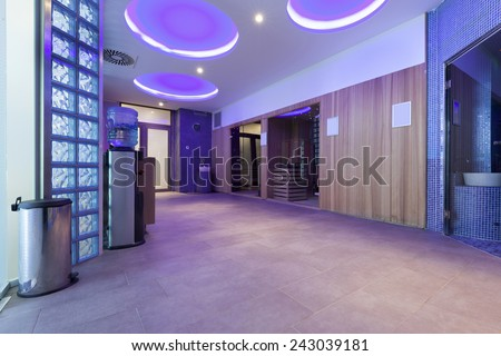 Spa center interior with relaxing ceiling lights - stock photo