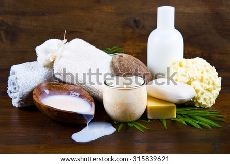 spa coconut products - stock photo
