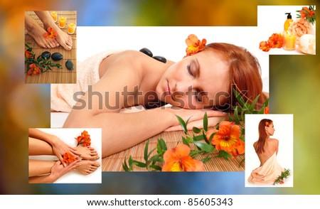 SPA collage - stock photo