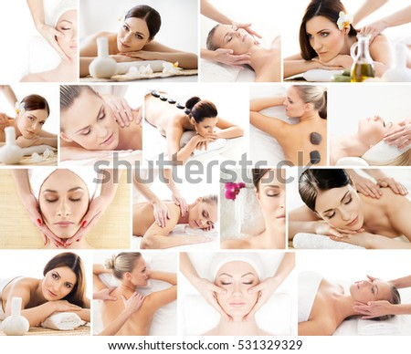 Spa collage. Different types of massage and skincare over isolated background.