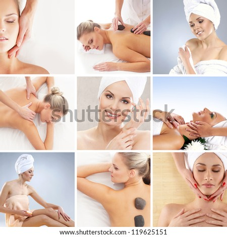 Spa collage made of many different elements - stock photo