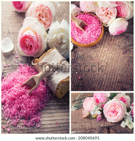 Spa collage. Sea salt, soap with roses on wooden background. Spa setting.