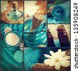 Spa collage series. Spa collage made of five images. Floral water, bath salt, candles and towel. - stock photo