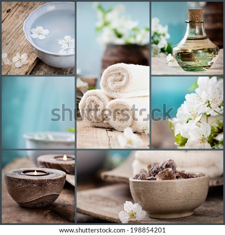 Spa collage series. Spa collage made of five images. Floral water, cherry flowers, bath salt, candles and towel. - stock photo