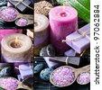 Spa collage with pink candle and purple sea salt - stock photo