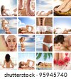 Spa collage with some nice shoots of young and healthy women getting recreation treatment - stock photo