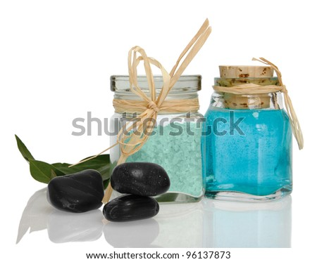 Spa collection with white towel, bath salt, massage oil, mint, isolated on white. - stock photo