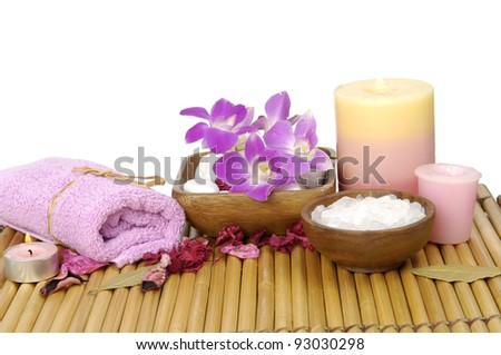 Spa composition made of orchid ,towel and other elements