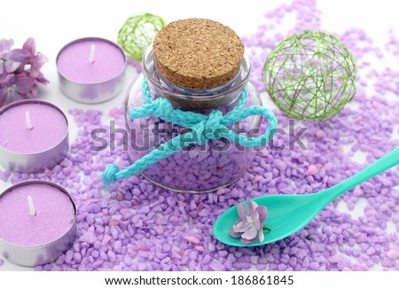 spa composition of bath salt, candles and bottle - stock photo