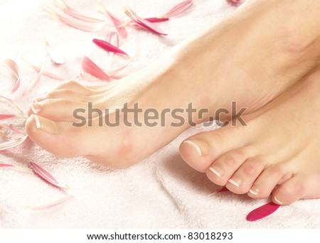 Spa composition of legs and flowers - stock photo