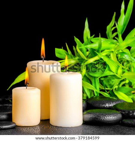 spa composition of twigs bamboo with dew and candles on zen basalt stones, close up