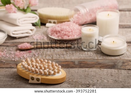 spa composition on wooden background - stock photo