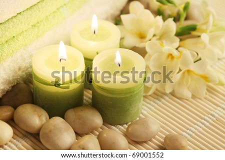 spa composition on wooden carpet - stock photo