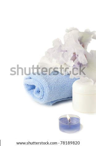 Spa composition with blue iris - stock photo