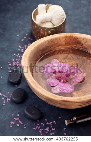 Spa composition with flower and stones zen - stock photo