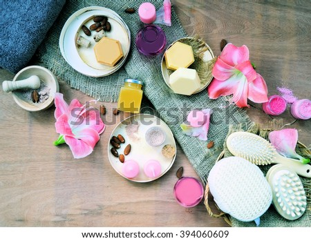 spa composition with flowers ,wellness setting with natural products - stock photo