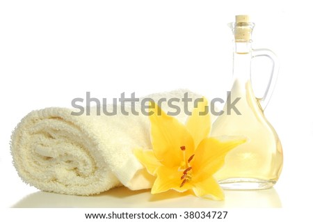 spa composition with massage oil isolated on white background - stock photo