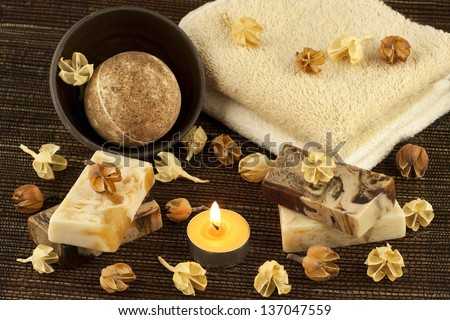 spa composition with natural soap and bath towels