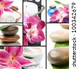 Spa concept. Collage with spa stones and flowers - stock photo