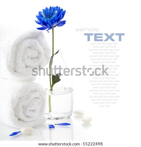 Spa concept (flower, pebbles and towel). White background - stock photo