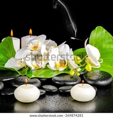 spa concept of orchid flower, phalaenopsis, leaf with dew, candles, smoke on black zen stones, closeup - stock photo