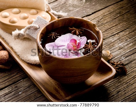 spa concept on wood - stock photo