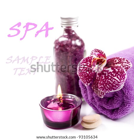 Spa concept ( Orchid, candle,  sea salt, and towel) over white with sample text