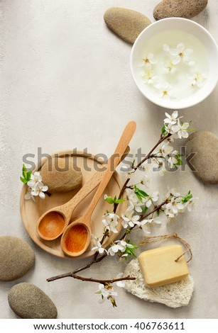 Spa concept, spa background, stylized photo, top view - stock photo