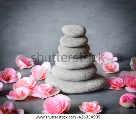 Spa concept. Stones and flower. - stock photo