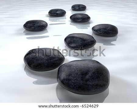 Spa concept stones on water - rendered in 3d