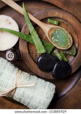 Spa concept with aloe vera - stock photo