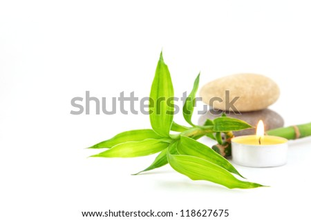 Spa concept with stones and bamboo - stock photo