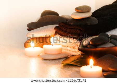 spa concept with zen basalt stones  - stock photo