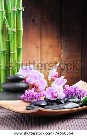 spa concept with zen stones and  orchid - stock photo