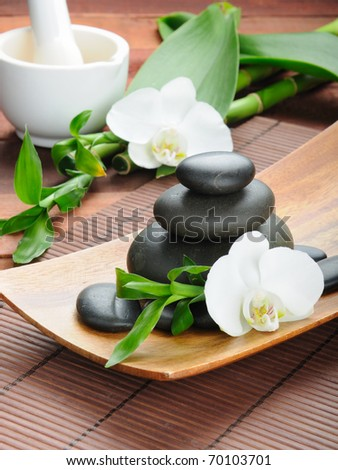 spa concept zen basalt stones and  orchid