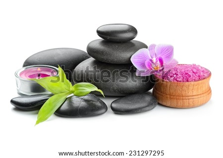 spa concept zen basalt stones and orchid isolated on white - stock photo