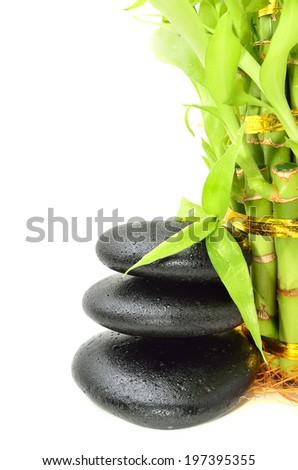 Spa concept zen basalt stones with bamboo - stock photo
