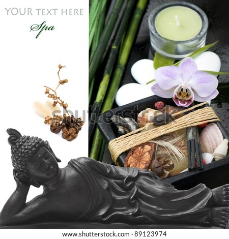 spa concept (zen stones, bamboo,buddha and candle) over white with sample text - stock photo