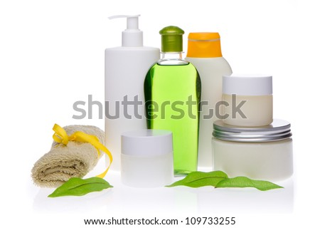 spa cosmetics isolated on white background - stock photo