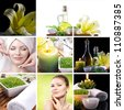 spa cosmetics on black background - stock photo