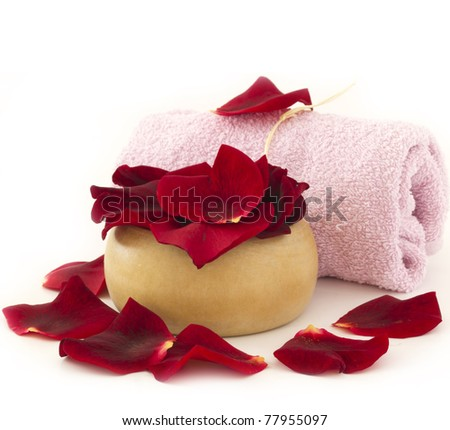 spa decoration with rose - stock photo