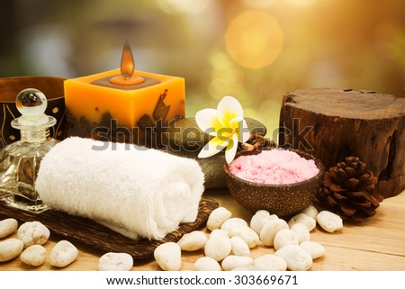 Spa elements with Beautiful natural background. - stock photo