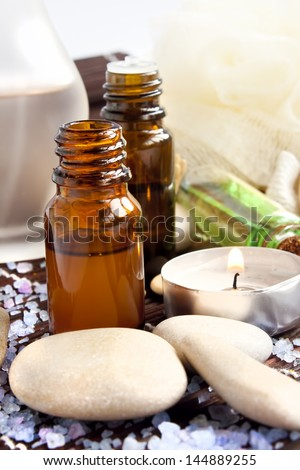Spa essences,candle and massage stones