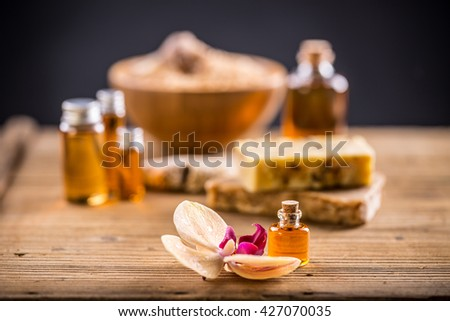 Spa essential oil for aromatherapy treatment - stock photo