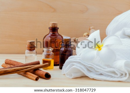 Spa essential oil  Natural Spas Ingredients for aroma aromatherapy.