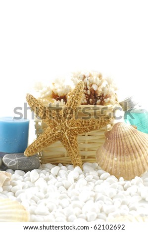 Spa essentials and skin care items with starfish and sea shells on white pebble - stock photo
