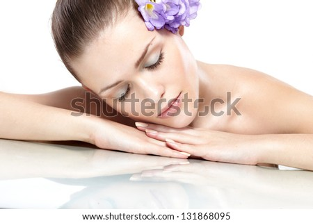 Spa. Face skincare beauty woman .on white background - stock photo