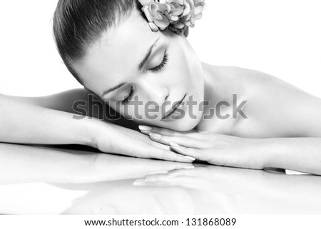 Spa. Face skincare beauty woman smiling happy. Black and white - stock photo
