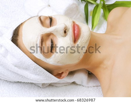 Spa facial clay mask - stock photo