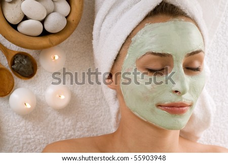 Spa Facial Mask.Dayspa - stock photo